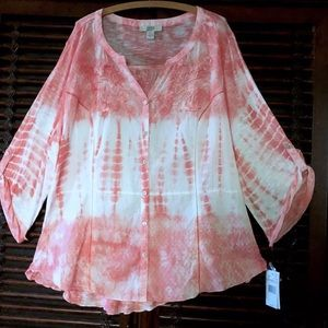 1X Embroidered Crochet Tunic Top Tie Dye Boho